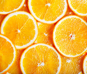 close up of orange slices background
