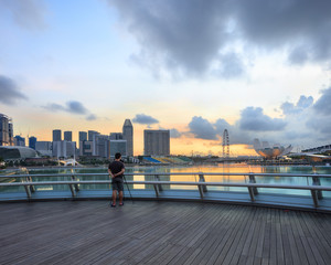 Singapore Marina Bay sunrise with photographer