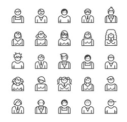 Set of Quality Universal Standard Minimal Simple People Black Thin Line Icons on White Background.