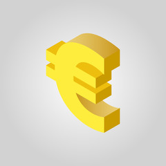 The euro icon. Cash and money, wealth, payment symbol.3D isometric. Flat Vector