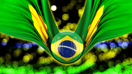 Brazil flag with volleyball  TEAM   bokeh background.3D illustration