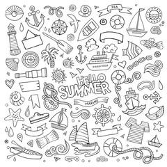 Marine nautical hand vector symbols and objects
