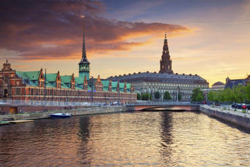 Copenhagen. Image of Copenhagen, Denmark during beautiful sunset.