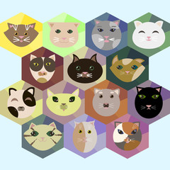 Set of polygon flat style icons with different cats
