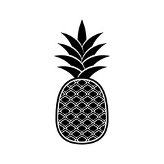 Black vector pineapple icon isolated