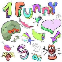 Set of funny crazy characters , signs, aliens , imaginary , cart