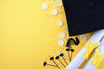 Yellow black and white theme graduation background