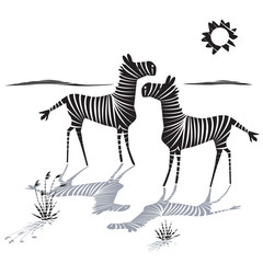 Vector illustration of couple of zebras with striped shadows. Isolated black graphic art on white background. Animal print.
