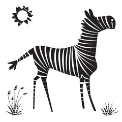 Vector illustration of zebra. Isolated cartoon black and white african animal.