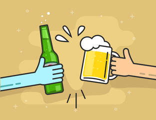 Hands holding beer glass and beer bottle, flat cartoon clinking toasting happy friends, cheering people party celebration in pub, flat outline art line design vector illustration