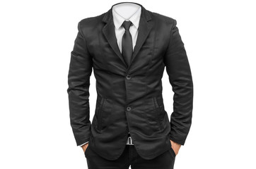 business man body in black isolated.