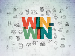 Business concept: Win-Win on Digital Data Paper background