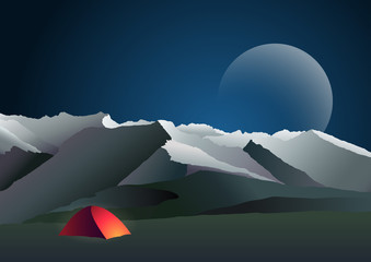 Night mountain landscape with tent