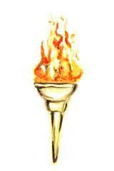 Gold torch with Olympic fire isolated on white. watercolor illustration.