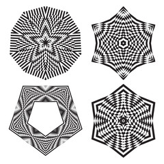 The circular pattern, round pattern - optical illusion, abstract design element.