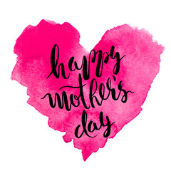 Happy mother's day. Colored watercolor background.