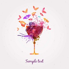 Watercolor glass of wine and butterflies