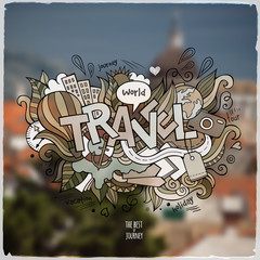 Travel hand lettering and doodles elements