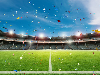 confetti celebration in soccer field background