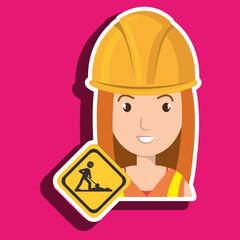 woman construction drill helmet