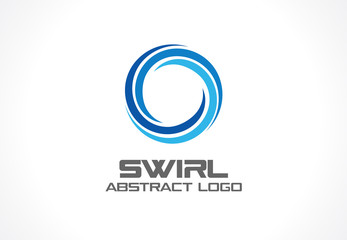 Abstract logo for business company. Corporate identity design element. Eco, nature, whirlpool, spa, aqua swirl Logotype idea. Water spiral, blue circle three segment mix concept. Colorful Vector icon