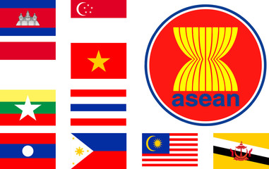 Set Flag of Asean Group Nation Flat square