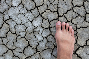 Foot walking droughts ground