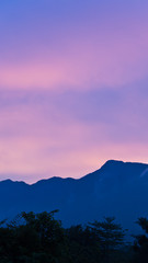 Colorful Sky over the mountain in evening