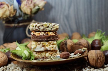 Cakes muesli with fruit and grains - dietary, tasty and healthy