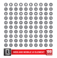 Set of 100 icon with background for web and mobile smart phone u