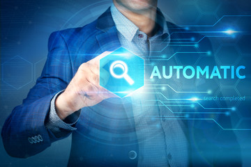 Business, internet, technology concept.Businessman chooses Autom