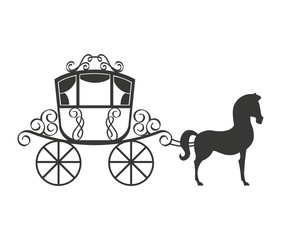 horse equine carriage icon