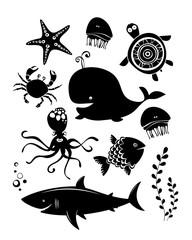 Sea animals. Icons set.