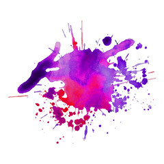 Abstract watercolor stain with splashes multicolor