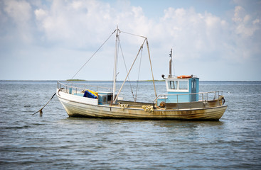 A small fishing boat in Baltic sea near Saaremaa island, Estonia, Europe