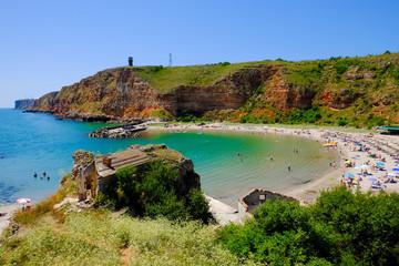 Bulgarian beach Bolata bay near Cape Kaliakra at the Black Sea. Wall mural