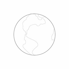 Earth icon in outline style on a white background
