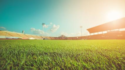 Green grass in soccer stadium , vintage
