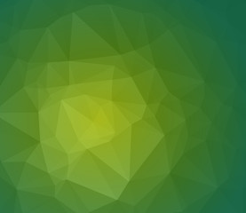 Green abstract polygonal background with geometric texture. Vector wallpaper