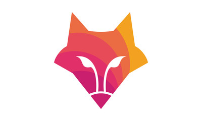 Fox head color logo