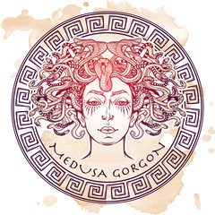 Medusa Gorgon sketch on a grunge background