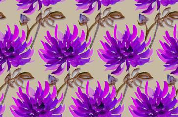 floral watercolour dahlia. aster, chrysanthemum seamless pattern