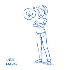 Angry young woman in casual clothes with folded arms and dark cloud in a thought bubble. Hand drawn line art cartoon vector illustration.