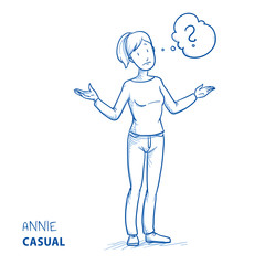 Clueless young woman in casual clothes spreading her arms with thought bubble. Hand drawn line art cartoon vector illustration.
