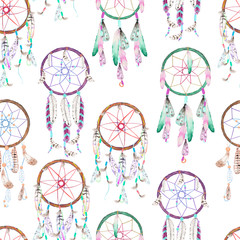 Seamless pattern with dreamcatchers, hand drawn in watercolor on a white background