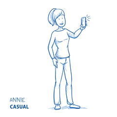 Happy young woman in casual clothes taking a photo with her mobile phone. Hand drawn line art cartoon vector illustration.