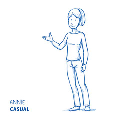 Happy young woman in casual clothes holding hand as if explaining or presenting something (e.g product). Hand drawn line art cartoon vector illustration.