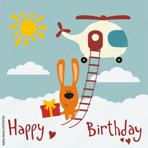 Happy birthday funny bunny flying on helicopter with birthday gift happy birthday funny bunny flying on helicopter with birthday gift in hand birthday card negle Image collections