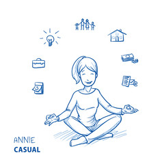 Happy young woman in casual clothes sitting in yoga pose with icons of easily organizing life, business and family around her. Hand drawn line art cartoon vector illustration.