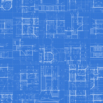 Architectural drawings on blue background.